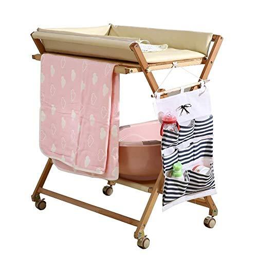 Babycommode Commode Hout for de peuter, Nursery Mobile Dresser Station op Wielen, Tafel in hoogte verstelbare Babyverzorging tafel