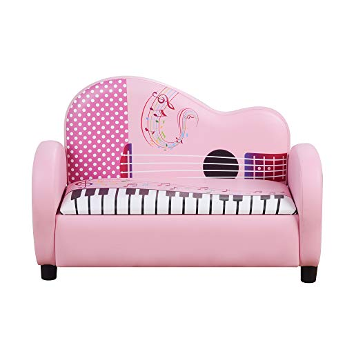 HOMCOM Kids Children Sofa Armchair Piano Shape Multi Functional 2 Seats Couch Storage Box Soft Sturdy Pink