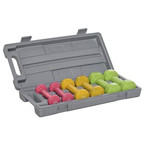 homcom Set Manubri Pesi per Braccia con Valigetta, 6 Manubri da 0.5kg 1kg 1.5kg Acciaio e Rivestimento PU, Rosso Giallo e Verde