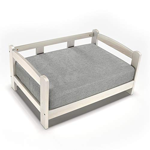 GDLF-Deluxe-Solid-Pine-Wood-Dog-Cat-Pet-Sofa-Waterproof-Bed-Easy-Assembly-Thick-Foam-White