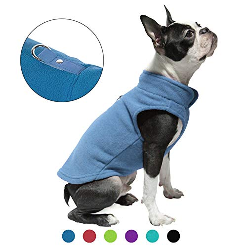 Gooby Dog Fleece Vest - Blue, Small - Pullover Dog Jacket with Leash Ring - Winter Small Dog Sweater - Warm Dog Clothes for Small Dogs Girl or Boy for Indoor and Outdoor Use
