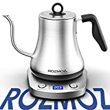 Rozmoz Electric Gooseneck Kettle with 6 Various Temperature Control, Pour Over Kettle for Coffee and Tea, 100% Stainless Steel Inner Lid and Bottom, with Auto Shut-Off Protection, 1 Minute SpeedBoil Tech,0.8L