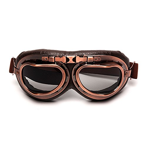 LEAGUE&CO Vintage Aviator Pilot Sports Motorcycle Cruiser Scooter Goggle, Half Helmet Goggles, Windproof glasses (Smoke)
