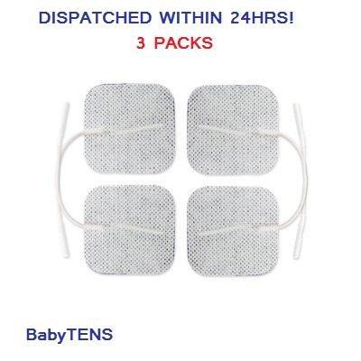 4 Ersatz Pads für Masseur//Tens Units Elektrode Einlagen 4x4cm Weiß Textil