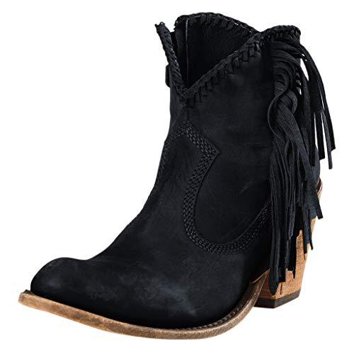 Frauen Winter Warme Stiefeletten Retro Einfarbig Mit Fransen Leder Flache Stiefel Mit Niedrigem Absatz rutschfeste Stiefeletten Schuhe(39 EU,Schwarz)