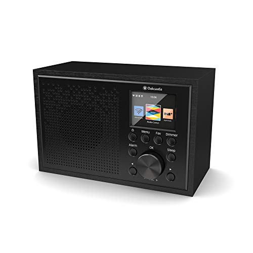 Oakcastle Internet Radio WiFi, Spotify Connect, Bluetooth, Alarma Dual, Line in, Control de Aplicaciones, Pantalla a Color (Negro)
