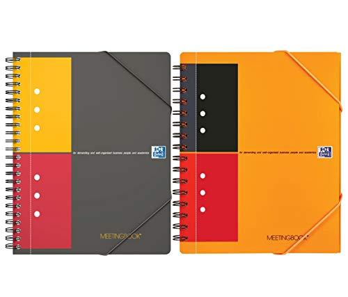 Oxford Intenational - Cuaderno de reuniones (A5, cuadriculado y a rayas, 80 hojas, perforado, 2 en 1, con carpeta elástica y 2 en 1)