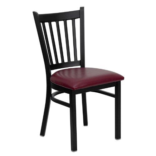 Flash Furniture HERCULES Series Black Vertical Back Metal Restaurant Chair - Burgundy Vinyl Seat