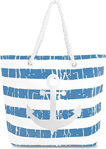 normani Strandtasche Schultertasche Handtasche Umhängetasche mit Sommer Design und großem Volumen Farbe Old Anchor Blue
