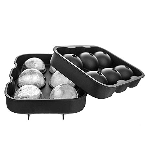 Bainuojia Eiskugelform,Silikon Eiswürfelform für 6 Runde 45mm Eiskugel BPA Frei Eiswürfelschale Trichter Ice Ball Mold für Whisky, Cocktails, Saft, Schokolade