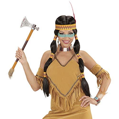 Amakando Peluca con Trenzas y Adorno para la Cabeza Hija del Cacique / Negro-Amarillo / Peluca Larga India Squaw Atuendo para Fiestas temticas y carnavales al Aire Libre