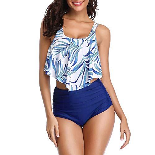 Badeanzüge für Frauen, zweiteiliger Badeanzug, gerüschtes Volant-Top mit hoher Taille, Bikini-Set - - 38-40