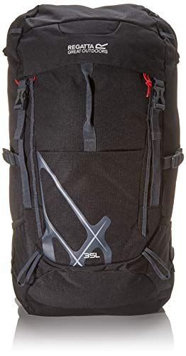 Regatta Kota Expedition Padded Hydration Reflective Travel Hiking Backpack - Black, 25 Litre