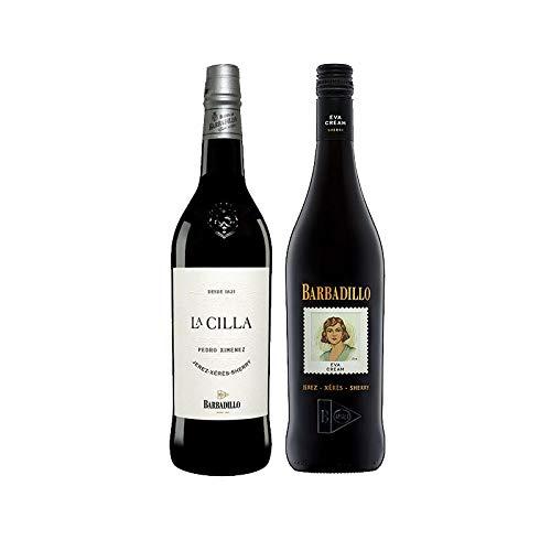 Vinos Pedro Ximenez La Cilla y Eva Cream - D.O. Jerez-Sherry - Mezclanza Barbadillo (Pack de 2 botellas)