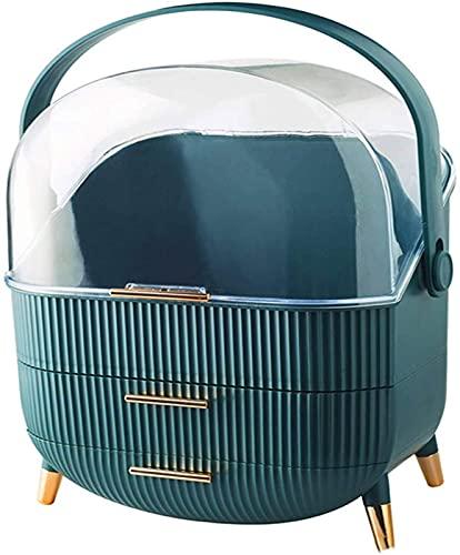 OH Caja de Alenamiento Cosmético Impermeable Y Poo a Prueba de Poo Caja de Exhibición Completo de Joyería Cosmética Mesa de Tocador de Alenamiento de Horquilla Portátil/Azul