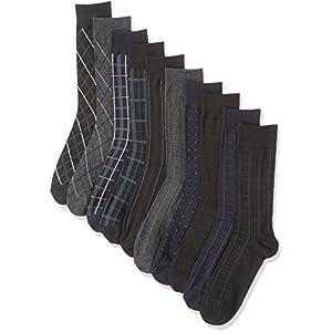 ソックスbox408 ビジネスソックス 10足セット クルー丈 靴下 メンズ フォーマルデザイン(25-27cm)
