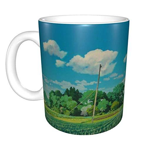 Hayao-Miyazaki Ghibli Anime (17) Taza de café de cerámica, única novedad, taza de té para el hogar o la oficina para los amantes del anime Festival de regalo de cumpleaños