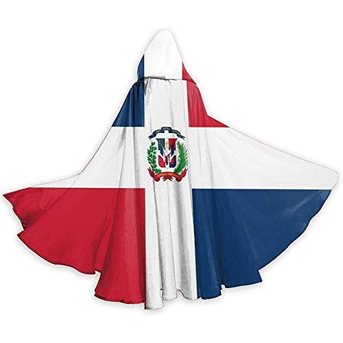KDU Fashion Disfraz De Mago,Bandera De Repblica Dominicana Capa con Capucha Capa De Bruja Suave Y Cmoda para Disfraces De Brujos 40x150cm