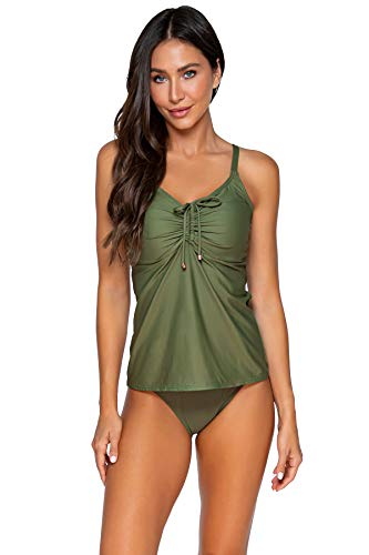 Sunsets Women's Avery Tankini Top Swimsuit with Underwire, Olive, 36DD