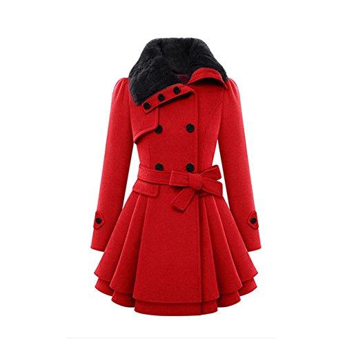 VEMOW Herbst Frauen Warm Schlank Mantel Mode Kunstpelz Revers Zweireiher Jacke Parka Mantel Lange Wolle Trenchcoat Jacke Winter Outwear(Rot, 46 DE / 3XL CN)