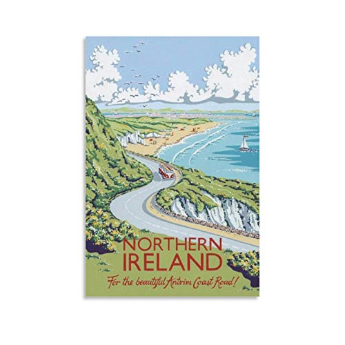 SDFJ Vintage Poster Northern Ireland Travel Poster Canvas Art Poster Picture Modern Office Family Bedroom Decorative Posters Gift Wall Decor Painting Poster12x18inch(30x45cm)