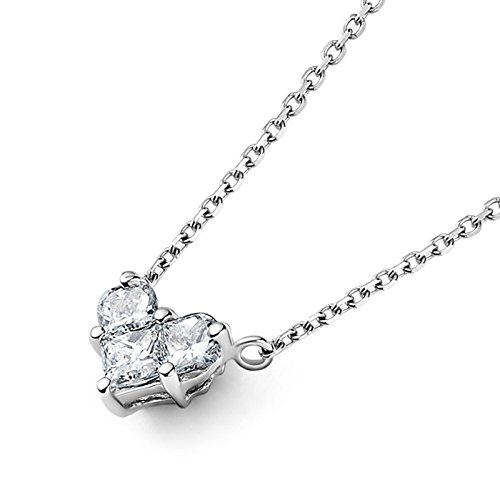 Aooaz Schmuck Damen Halskette Kette 18K Weißgold 3 Quadrat Diamant Herz Anhänger Halskette Silber 69I Kette 42CM