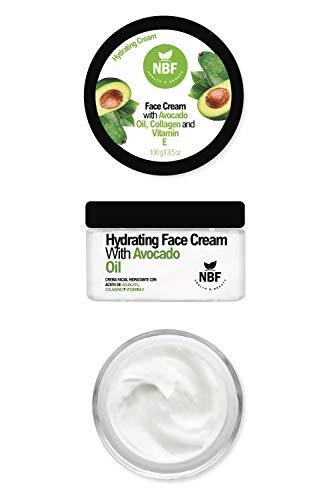 NBF Avocado Oil Face Cream 3.5Oz/100g Hydrating Natural Moisturizer Daily Facial With Pure Avocado Oil Collagen & Vitamin E For Dry Sensitive Skin Care