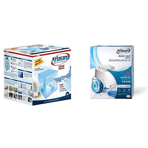 Ariasana 673932 Kit Maxi Classic Assorbiumidita, 2 x 450 g & Aero 360 Bagno Kit assorbiumidita, Deumidificatore bagno non elettrico, assorbi umidita contro condensa