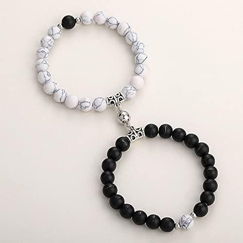 WUGDSQGH Pulsera Mujer Blanco Y Negro 2 Piezas/Juego De Pulseras De Yoga Adecuadas para Parejas Encanto Encantador Imán De Distancia Pulsera De Pareja Joyería De La Amistad