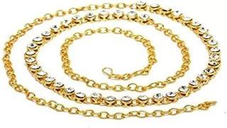 Lucky Jewellery 1-Line Stone Gold Plated Waist Belt(Kamarband) for Women (375-S1LS-1LINE-W)