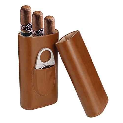 Xinzistar Zigarrenetui 3 Zigarren, Leder Zigarren Etuis mit Zigarrenschneider, Tragbarer Humidor Zigarren fr Reise Kurztrips(Braun)
