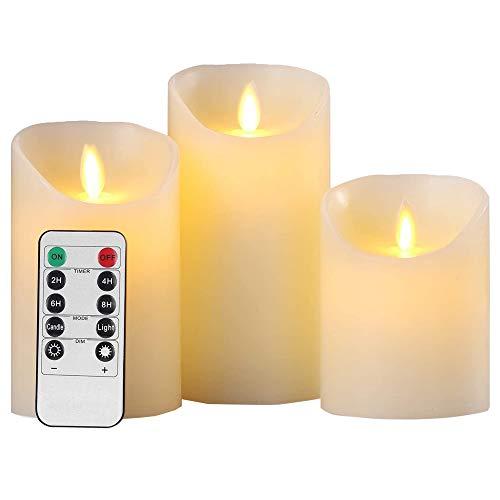 3 Llama Velas LED, 10 cm, 12,5 cm, 15 cm, Pilares Cera...