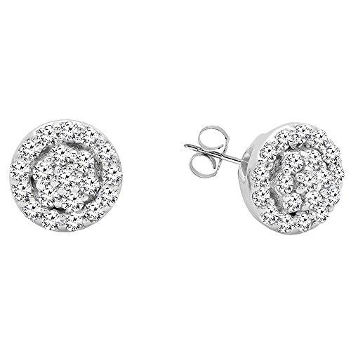 Dazzlingrock Collection 0.25 Carat (ctw) 10K Round White Diamond Ladies Circle Cluster Stud Earrings, White Gold (0.25 Ct Dazzling Diamond)