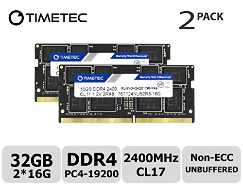 Timetec Hynix IC DDR4 2400MHz PC4-19200 Unbuffered Non-ECC 1.2V CL17 2Rx8 Dual Rank 260 Pin SODIMM Computer portatile Memorie Module Upgrade (32GB Kit (2x16GB))