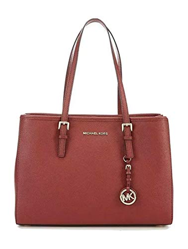 "From MICHAEL Michael Kors, the Jet Set Travel Large East West Tote Bag features: Saffiano leather 100% leather Dog clip closure Approx. 14""W x 10.5""H x 5.25""D; handle drop 9.25"" Interior back zip pocket, 2 back slip pocket, 1 center tech zip compartm..."