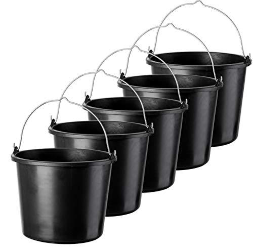 KADAX Baueimer aus Kunststoff, 12L, Mörteleimer für Baustelle, Garten, Zementeimer, Stabiler Eimer mit Griff, Mörtelkasten, Wassereimer mit Gießrand, Putzeimer, schwarz (5)