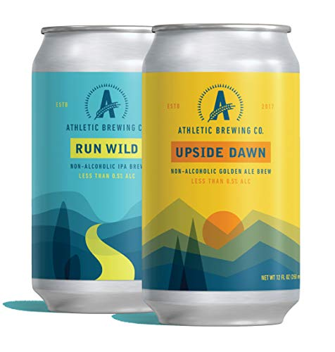 ATHLETIC BREWING COMPANY - RUN WILD IPA AND GOLDEN ALE (NON-ALCOHOLIC BEER) MIXED 24-PACK - THE #1 NON-ALCOHOLIC, LOW-CALORIE, AWARD WINNING CRAFT BREW