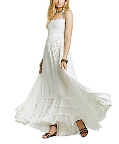HorBous dames sexy mouwloze lange strandjurk lange strapless katoenen jurk