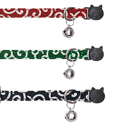 猫首輪猫用首輪子犬迷子札付き鈴付き調整可能可愛い軽量ペット首輪セーフティバックル付布和風唐草3個セット(グリーン+レッド+ネイビー)