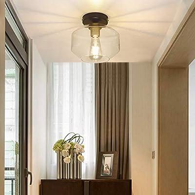DLLT Farmhouse Semi Flush Mount Ceiling Light, Classic Glass Pendant Ceiling Light Fixture-Transparent Shade Lighting for Hallway, Entryway, Passway, Dining Room, Bedroom, Corridor, Foyer, E26 Base
