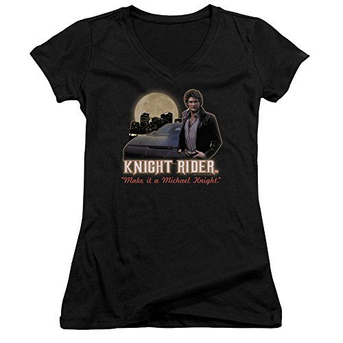 Female Knight Rider Make It A Michael Knight Hasselhoff V Neck Fitted T-shirt, S to XXL