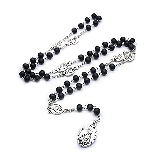 Kkoqmw Collar de tótem de Siete Formas de amargura Religiosa Collar de Cuentas de Rosario de Madera de Color Negro