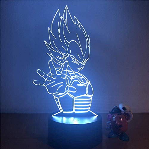 3D Illusion Light Dragon Ball Z Vegeta Super Saiyan 3D Led Night Light Figura de acción 7 Mesa táctil a color Luz decorativa Modelo de ilusión óptica