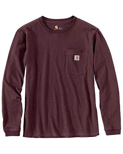 Carhartt Women's K126 Workwear Pocket Long Sleeve T-Shirt (Regular and Plus Sizes), deep Wine, Small
