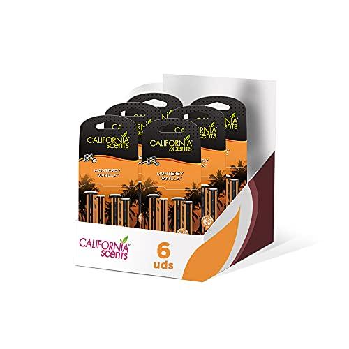 California Car Scents - Pack de 6 - Ambientador de Coche con Fragancia, Olor y Esencias a Monterey Vanilla, Aroma a Vainilla (Bastones de ventilación, 4UDS)
