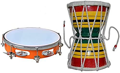 Indoselection India Musical Instrument Handmade Shiva Damru And Musical Dafli Combo Best For Gifting