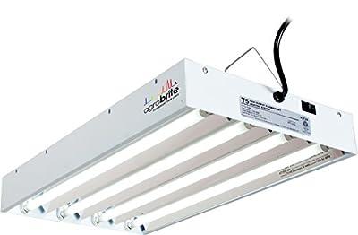 Hydrofarm Agrobrite FLT24 T5 Fluorescent, 2 Foot, 4 Tube Grow Light System, 2-Feet, Black