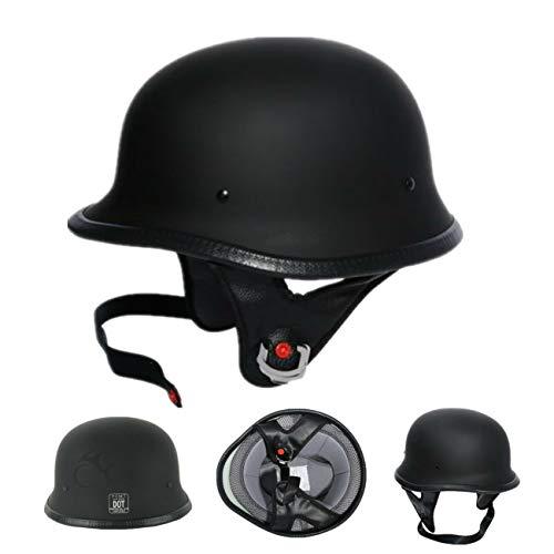 TCT-MT DOT Half Face Helmet German Chopper Cruiser Biker Motorcycle Helmet Matte Black (Adult,...