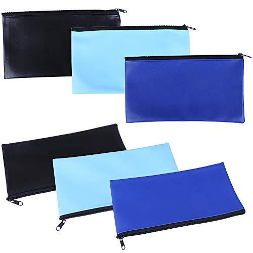6 Pieces Bank Deposit Money Bag Leatherette Securit Vinyl Zipper Pouches Wallet Utility Zipper Coin Bags for Cash Money, 11x6in(3 Colors)