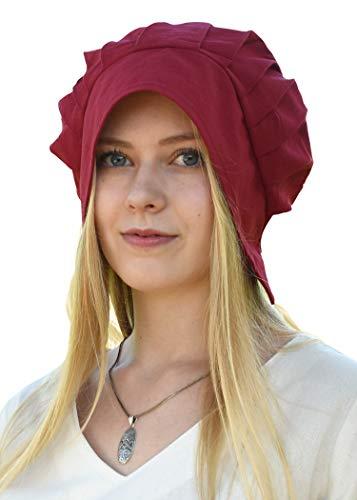 Battle-Merchant Mittelalter Haube mit gelegten Falten für Damen - Damenhaube - Mittelalterhaube - Kopfbedeckung (Rot)